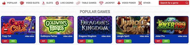 De uitgebreide spellen collectie van Polder casino