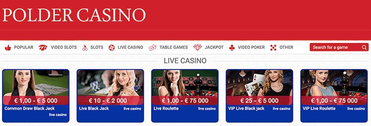 Of speel mee in het Live casino