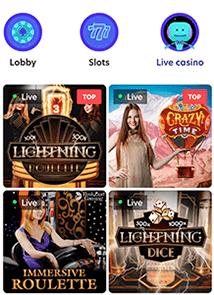 Voor de echte tafelspellen ga je naar het live casino