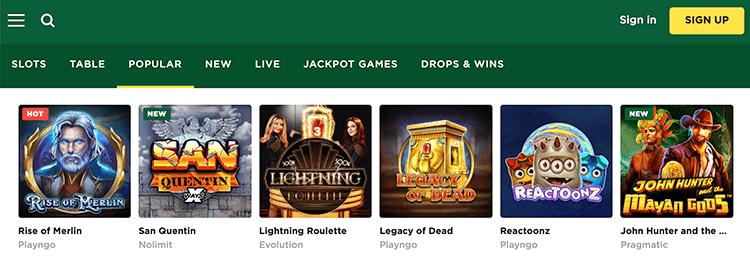 Zet geld in op je favoriete gokkasten in het Mason slots casino