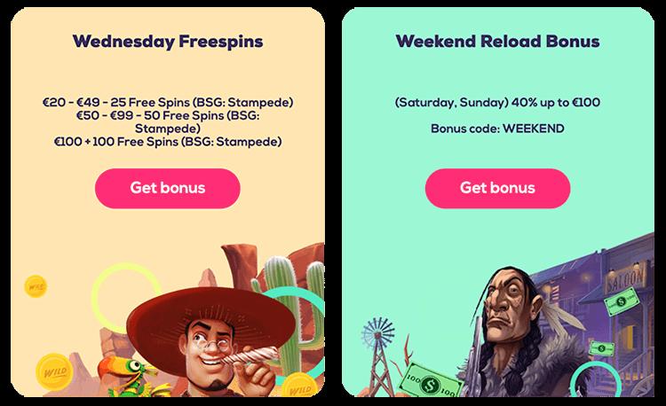 elke week weer nieuwe reload bonussen